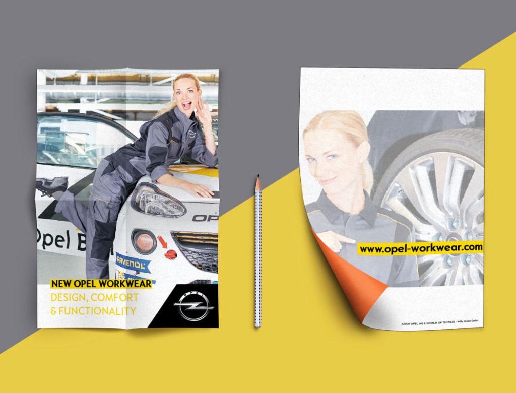 Frau im Männerjob Workwear Opel Motorsporz Arbeitskleidung